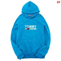 Tommy Fashion New Letter Print Couple Sports Leisure Hooded Long Sleeve Sweater Top 8#