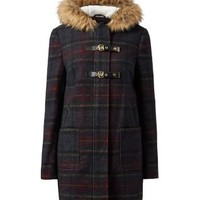 Navy Check Faux Fur Trim Hood Duffle Coat