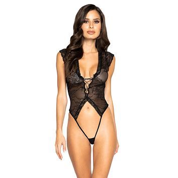 Sexy This Is Real Cap Sleeve Lace-Up Crotchless Teddy