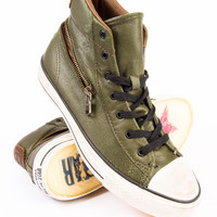 John Varvatos x Converse Scratched Leather Mid Back Zip Forest Night Sneaker