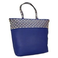 Gold Tone Studded Fashion Tote Bag Purse Royal Blue