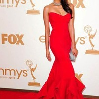 Vogue Red Women's Emmy Awards Celebrity Party Long Prom Ball Gown Evening Dress