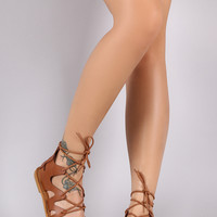 Bamboo Caged Lace Up Gladiator Flat Sandal