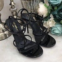 YSL classic hot sale black retro ladies high heel sandals Shoes