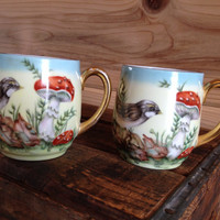 2 Hand Painted Finch and Mushroom Porcelain Cups Gold Handle Billie Callan