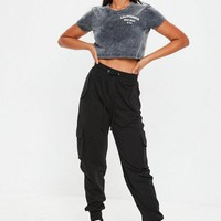 Missguided - Black Utility Pocket Cargo Joggers