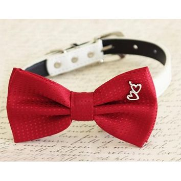 Red Dog Bow tie attached to collar, charm, Dog birthday, wedding pet accessory