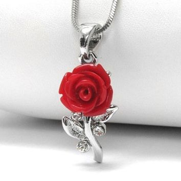 """A Rose Without Thorns - Blooming Red Rose 16"""" Pendant Necklace"""