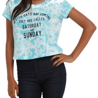 Better Days Turquoise Tie Dye Crop Top