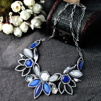 Stylish Floral Dangle Faux Stone Necklace