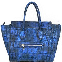 Trendy! Embossed Faux Alligator Skin Fashion Purse Blue