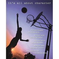"""It's All About Character Inspirational Sports Poster 16""""x20"""""""