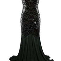 Dark Green Long Sequin Beaded Evening V Back Gatsby Flapper Vintage Style Party Dress