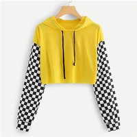 Yellow Gingham Cropped Hoodies