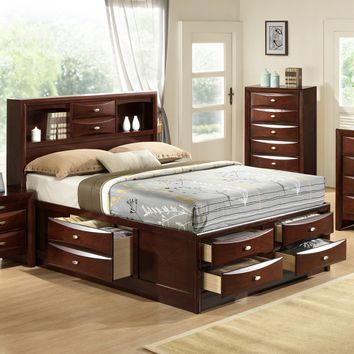Roundhill Furniture Emily 111 Wood Storage Bed, Queen, Merlot