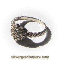 Sterling Silver Heart Shaped Hematite Crystal Cluster Fashion Ring