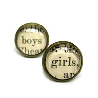 Boys and Girls Salvaged Vintage Library Card Word Earrings Aged Brass Post Studs