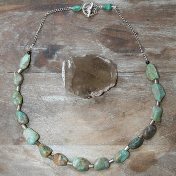 Pre holiday SALE CoCo  //  Turquoise and ethiopian silver statement necklace // spirittribe, statement, holiday, boho, bohemian