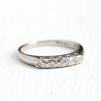 Diamond Wedding Band - Vintage 14k White Gold 1950s Ring - Retro Size 5 , 1/10 CTW Five Stone Bridal Wedding Fine Single Cut Jewelry