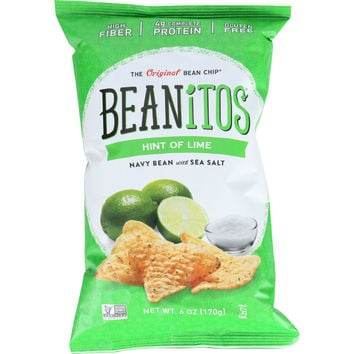 Beanitos Bean Chips - White Bean - Navy Bean with Sea Salt - Hint of Lime - 6 oz - case of 6