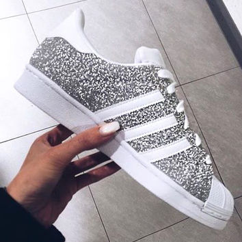 """Adidas"" Superstar Women Shiny Shell-toe Flats Sneakers Sport Shoes"