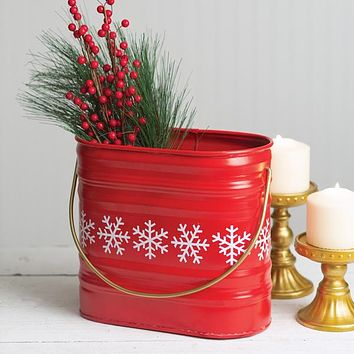 Red Metal Snowflake Bucket