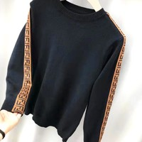 FENDI Classic Trending Women Men Casual Long Sleeve Round Collar Sweater Sweatshirt