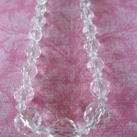 Faceted Crystal Necklace Vintage Wedding Jewelry