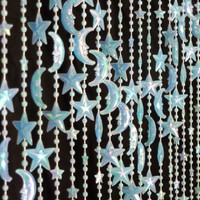 Celestial Seafoam Blue Glow in the Dark Beaded Curtain --  Stars & Moons
