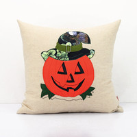 Jack Pumpkin Pillow,Fall Pumpkins Decoration pillow,Autumn Decor,Hand Embroidery Stitchery cushion covers,Halloween Decor throw pillow 18×18