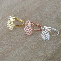 Gold Plated Pineapple Ring - Made to Order
