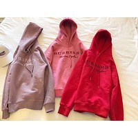 Burberry Women Embroidery LOGO Pullover Hoodie I