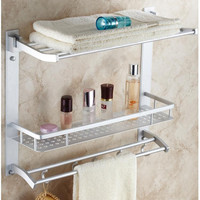 Movable Bathroom Shower Shelf Bathroom Shelf Convenient Rack W/ Hook Accessories Space Aluminum Stainless Steel Thicken 7840