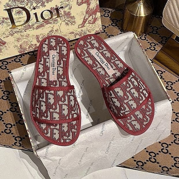 Image of Dior Christian Dior Women's Jacquard Letter Flat Slippers Shoes