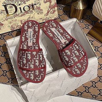 Dior Christian Dior Women's Jacquard Letter Flat Slippers Shoes