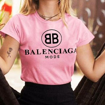 B Balenciaga Trending Women Man Letters Simple Print Tee Shirt Top Pink