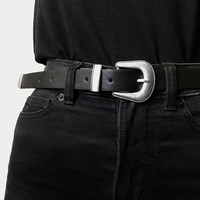 Black and Silver Buckle Belt - Belts - Accessories