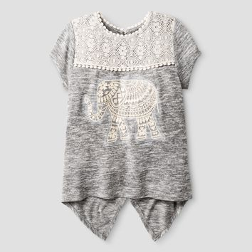 Girls' Miss Chievous Short Sleeve Babydoll Top with Crochet Pom Pom Trim & Elephant Applique - Gray
