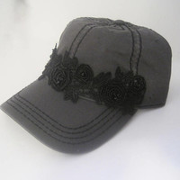 Charcoal Grey Trucker Baseball Cap with Black Stitching and Gorgeous Black Lace Beaded Trim Hats Accessories Trucker Baseball Caps