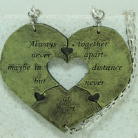 Heart Necklaces set of 3 Always Together quote Best Friend Jewelry Green