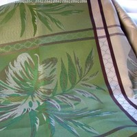 """io-H57 Indoor Outdoor Large Block Leaf Jacquard 52 x 70"""" Oblong Tablecloth Elegant Green Chocolate Brown"""
