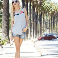 Woven Floral Contrast Tank