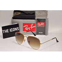 NEW Authentic Ray Ban RB3025 001/51 62mm AVIATOR Gold Frame/Brown Gradient Lens