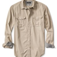 Banana Republic Mens Slim Fit Garment Dye Twill Utility Shirt