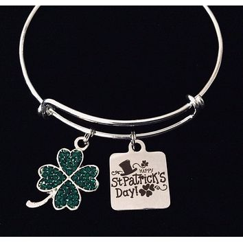Bling Saint Patrick's Day Jewelry Expandable Charm Bracelet Silver Adjustable Bangle One Size Fits All Gift