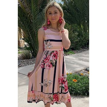 All Mine Pink Floral Print Stripe Sleeveless Midi Dress