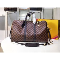 LV Fashion Printed Travel Bag Shoulder Bag for Men and Women Coffee lattice High-quality