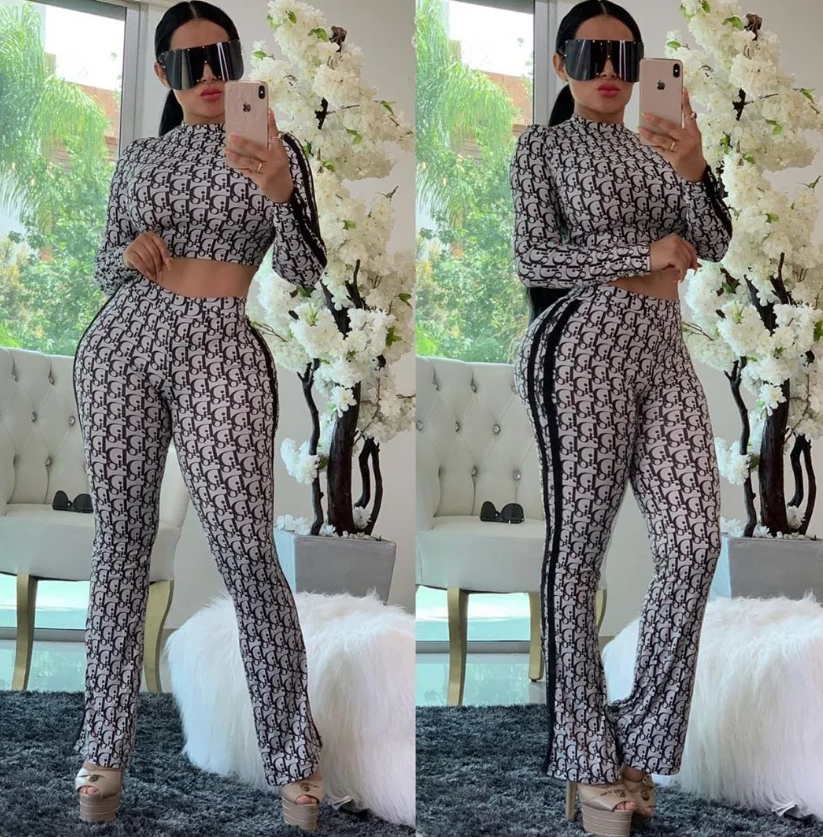 Image of DIOR Women Casual Fashion Top Sweater Pullover Pants Trousers Set Two-Piece