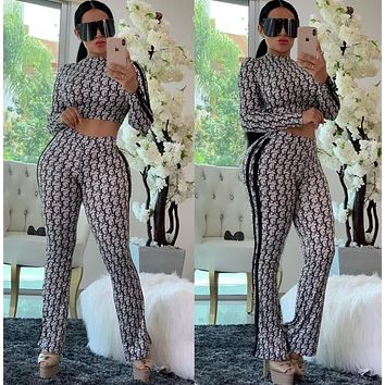 DIOR Women Casual Fashion Top Sweater Pullover Pants Trousers Set Two-Piece