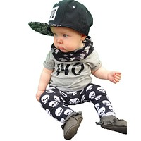 2017 summer fashion baby boy clothes newborn baby boys clothing set cotton letters NO T-shirt+Skull Pants Infant clothes